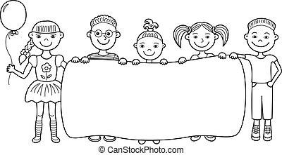 kinder, banner, karikatur, leerer , besitz