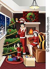 kinder, baum, portion, eltern, dekorieren, weihnachten
