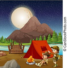 kinder, camping, natur