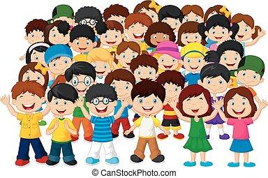 kinder, crowd, karikatur