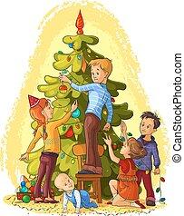 kinder, dekorieren, a, weihnachtsbaum