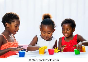 kinder, drei, zusammen, afrikanisch, gemälde, hands.