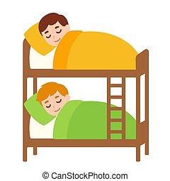 kinder, eingeschlafen, in, hauen bett