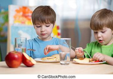 kinder, essen, gesundes essen, hause