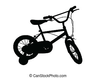 kinder, fahrrad, vektor, abbildung