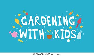 Kinder, Gartenarbeit