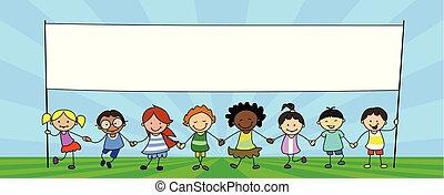 kinder, gruppe, banner, abbildung, halten hände, kinder