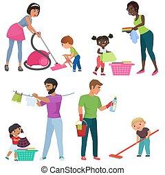 kinder, illustration., familie, positionen, putzen, kinder, portion, ihr, vektor, eltern, zusammen., verschieden, housework., karikatur, erwachsene