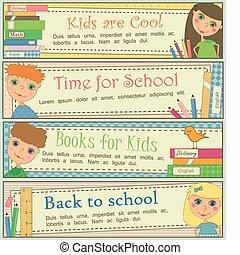 kinder, in, schule, banner