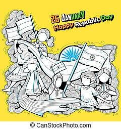 Kinder, Indien, Trikolore, winkende, feiern, Fahne, indische, republik, Tag