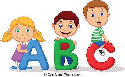 kinder, karikatur, mit, abc, alphabet