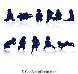 kinder, kinder, baby, silhouetten
