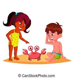 kinder, krabbe, aufpassen, freigestellt, abbildung, hocken,...