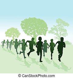 Kinder laufen in der Natur.eps