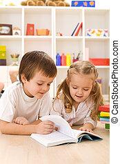 kinder, lernen, und, lesende