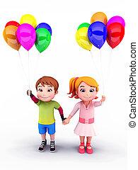 kinder, luftballone, glücklich
