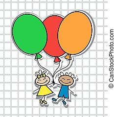 Kinder, luftballone, karikatur