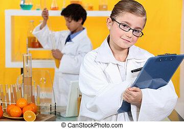 kinder, machen, wissenschaftlich, tätigkeiten