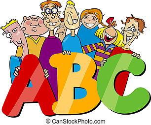 kinder, mit, abc, briefe, karikatur