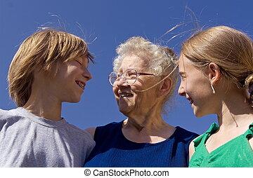 kinder, mit, grandm