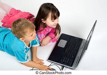 kinder, mit, laptop