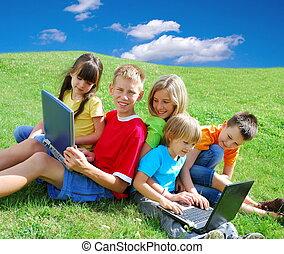 kinder, mit, laptops