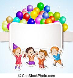 kinder, mit, luftballone, aus, banner