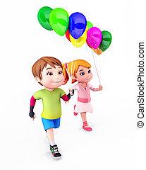 kinder, mit, luftballone