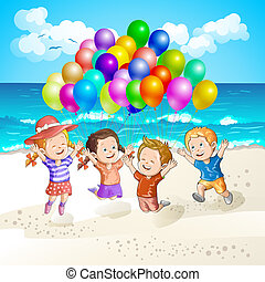 kinder, mit, luftballone, strand