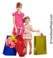 kinder, mit, shoppen, bag.