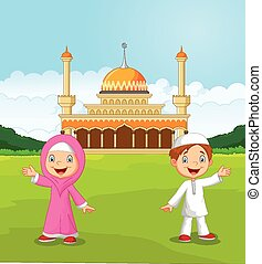 Kinder, moslem, winkende,  Ha, karikatur, glücklich
