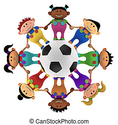 kinder, multiethnic, fußball, ungefähr