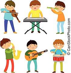 kinder, musik, spielende