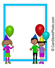 Kinder,  party, Rahmen, Gruppe,  3D