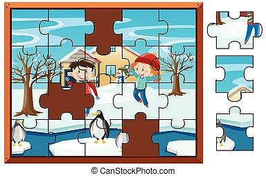 kinder, puzzel, stichsaege, schnee, spiel, spielende