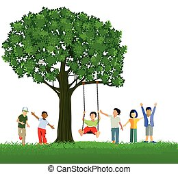 Kinder Schaukeln Baum.eps