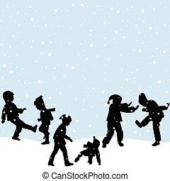kinder, schnee spielen