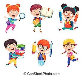 kinder, schule, reizend, karikatur, glücklich