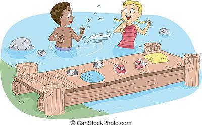 kinder, schwimmender