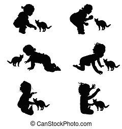 kinder, silhouette, mit, katz, abbildung, in, schwarz
