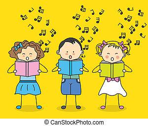 kinder, singende