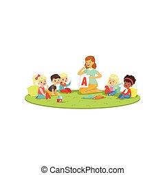 kinder, sitzen teppich, mit, lehrer, und, lernen, zu, aussprechen, brief, a., sprachtherapeut, unterrichten, wenig, jungen mädchen, in, verspielt, form