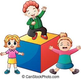kinder, spielen block, gefärbt