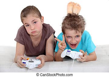 kinder, spielen, computerspiele