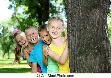 kinder, spielen, in, der, sommer, park