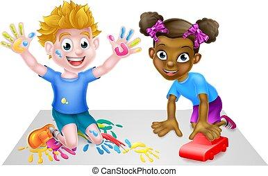 kinder, spielen, karikatur