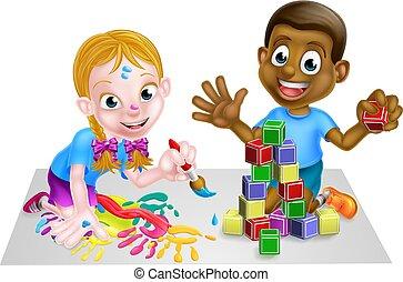 kinder, spielen, mit, blöcke, und, gemälde