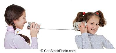 kinder, spielen, mit, blechdose, und, schnur, telefon