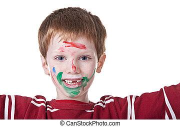 kinder, spielen, mit, farbe, mit, gemalt, gesicht