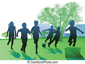 kinder, spielen, und, rennender